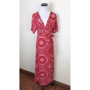 NWT Forever 21 Faux Wrap Bandana Print Maxi Dress